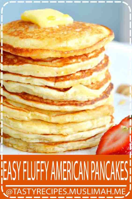 Introducing my easy fluffy American pancakes recipe. With only 6 ingredients and 2 minutes preparation, you get a perfect fluffy texture. These pancakes make hands down the best easy breakfast or brunch recipe. #Fluffy #Pancakes #Easy #Breakfast #Recipes