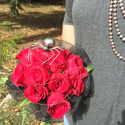Spider Red Rose Wedding Bridal Bouquet for Halloween by Stein Your Florist Co.