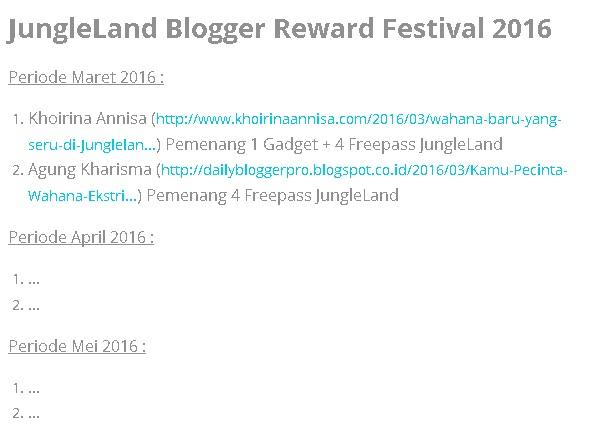 Senangnya, Saya Terpilih Jadi Juara 2 di Lomba Jungleland Blogger Festival 2016