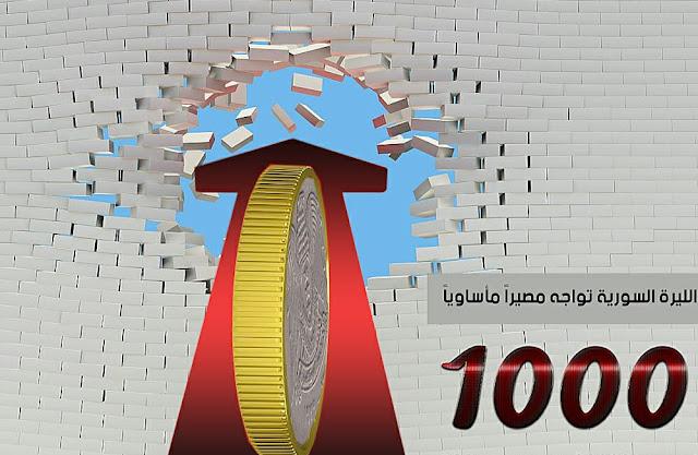 لأول مرة في تاريخها .. الليرة السورية تكسر حاجز الألف ليرة أمام الدولار