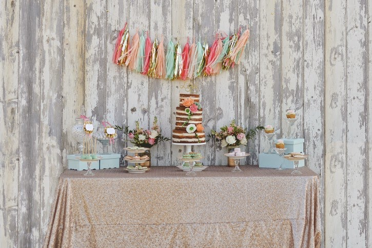 rustic dessert tablegold and coral and tassel garland