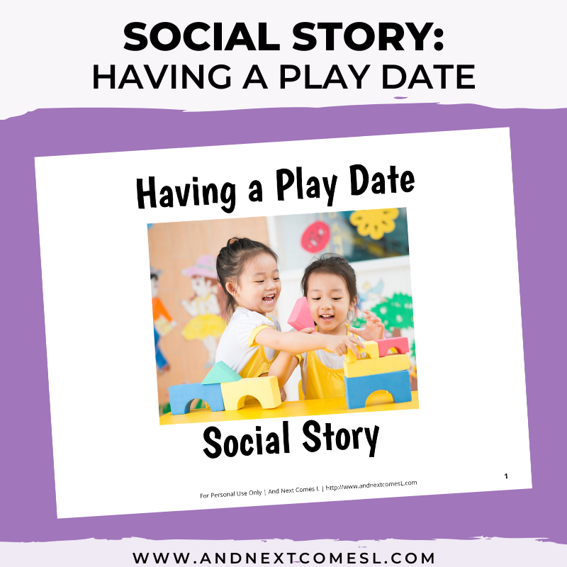 Printable social story for kids with autism about having a play date