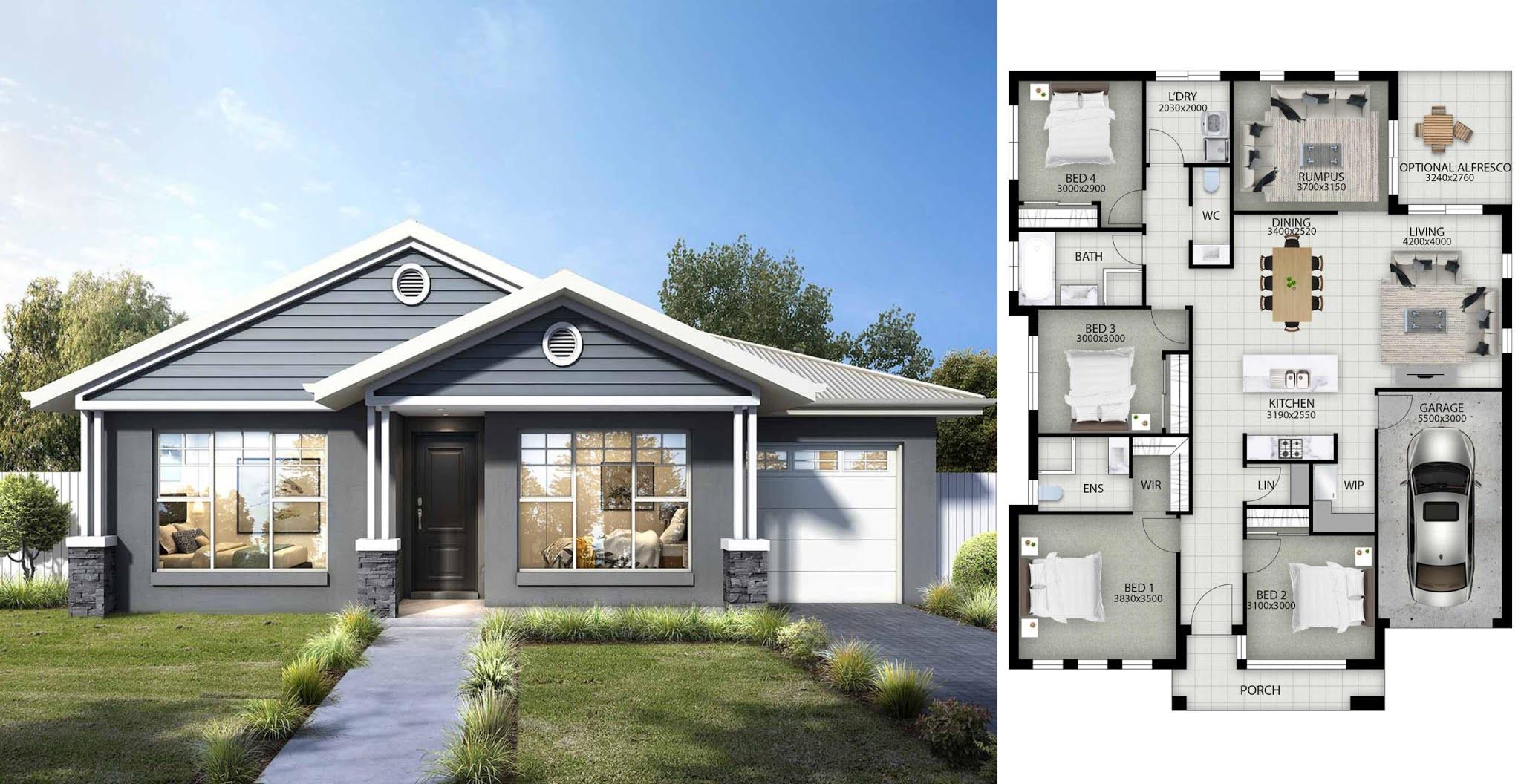 Plan Maison Plain Pied 4 Chambres Avec Suite