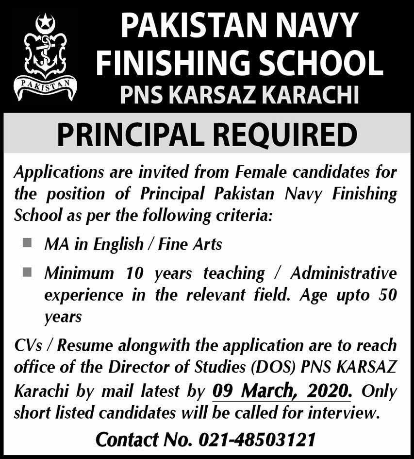 Pakistan Navy Finishing School Jobs