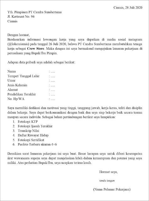 Contoh Surat Lamaran Kerja Untuk Crew Store (Fresh Graduate)