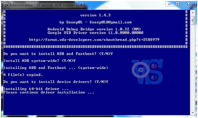 installation de adb et fastboot + pilote