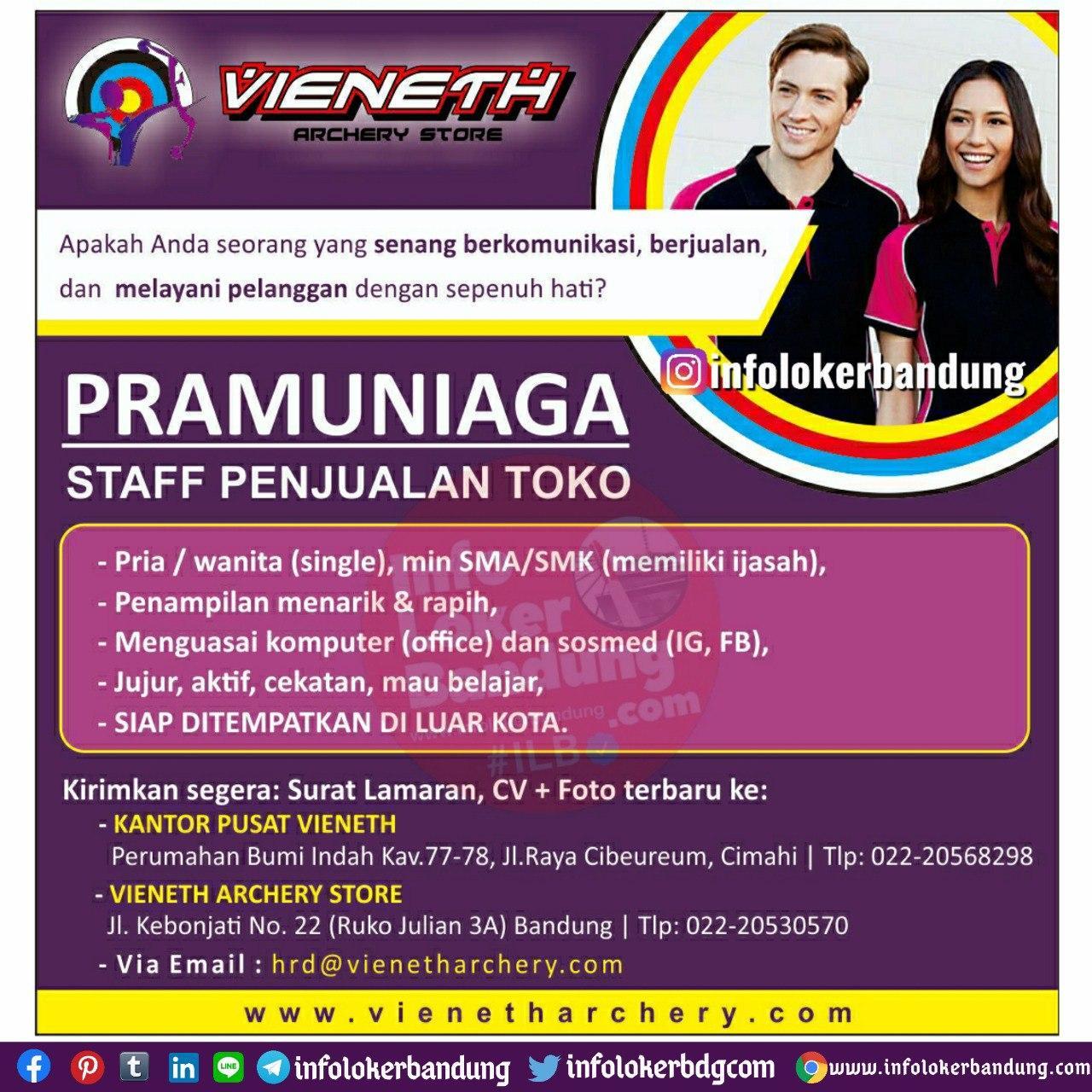 Lowongan Kerja Pramunia ( Staff Penjualan Toko ) Vieneth Archery Store Bandung Agustus 2020