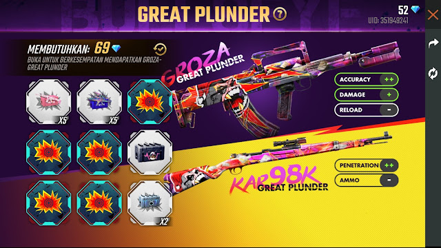 Event Baru Free Fire Spin Skin Senjata Groza Great Plunder