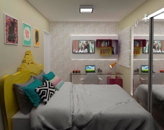 Strong colors bring more personality and a fun style to the young women's bedroom decor