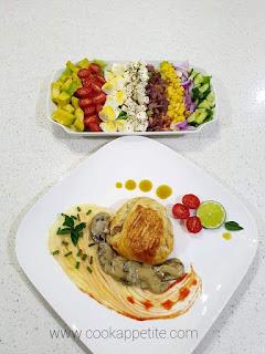 Steak And Mushroom Pie Cobb Salad Mashed Potato And Spaghetti