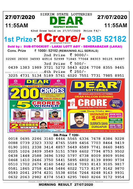 Lottery Sambad Result 27.07.2020 Dear Respect Morning 11:55 am