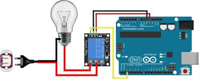 rangkaian modul relay arduino 5v