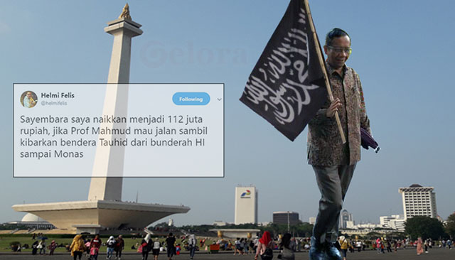 Hadiah Naik jadi Rp112 Juta, Jika Mahfud MD Jalan sambil Kibarkan Bendera Tauhid dari Bundaran HI-Monas