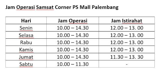 Jam Operasional Samsat Corner PS Mall Palembang