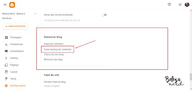 fazer backup do blog completo blogger