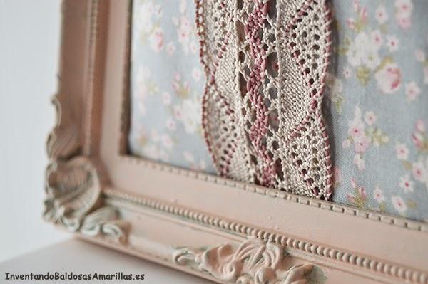 DIY cuadro vintage tela y puntilla
