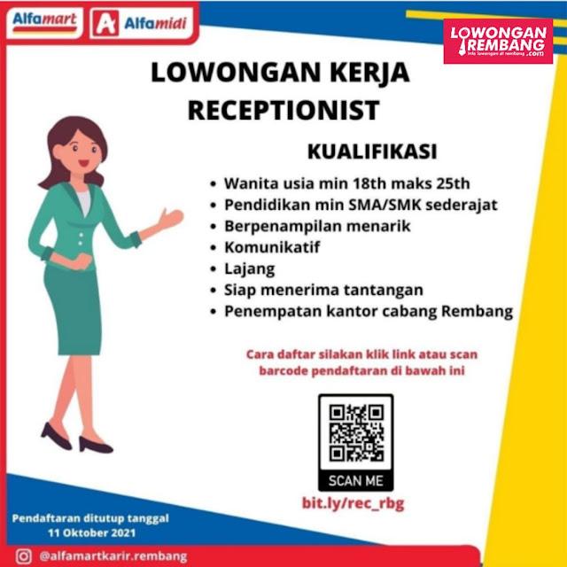 Lowongan Kerja Receptionist Alfamart Rembang