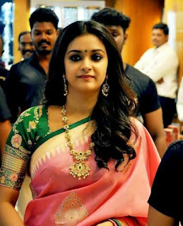 Keerthy Suresh in Pink Saree with Cute and Awesome Lovely Chubby Cheeks Smile 2