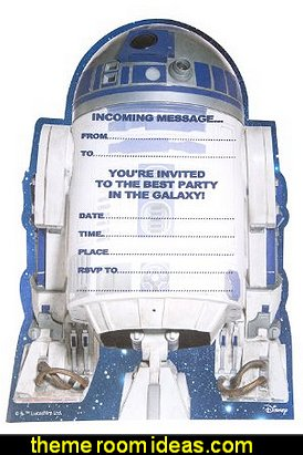 Star wars R2-D2 Party Invitations  Star Wars party decorations  - Star Wars party decor - star wars party decorating - Star Wars party supplies -  Star Wars party props - star wars life size standees - star wars costumes - outer space party decorations - star wars props - galaxy table decorating props