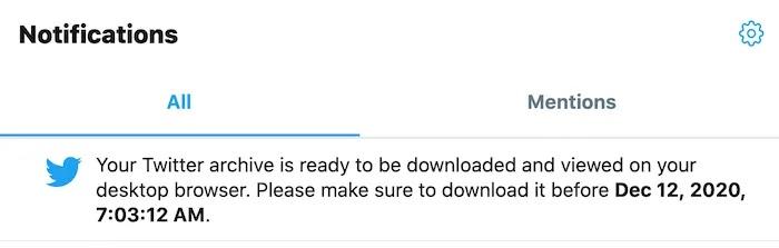 ستتلقى إشعارًا من Twitter عندما تكون بياناتك متاحة للتنزيل.