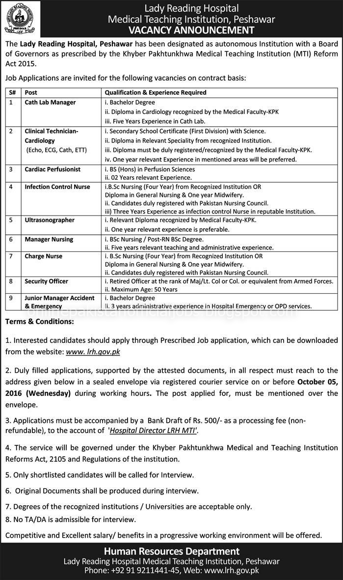 Different Jobs in Lady Reading Hospital Peshawar
