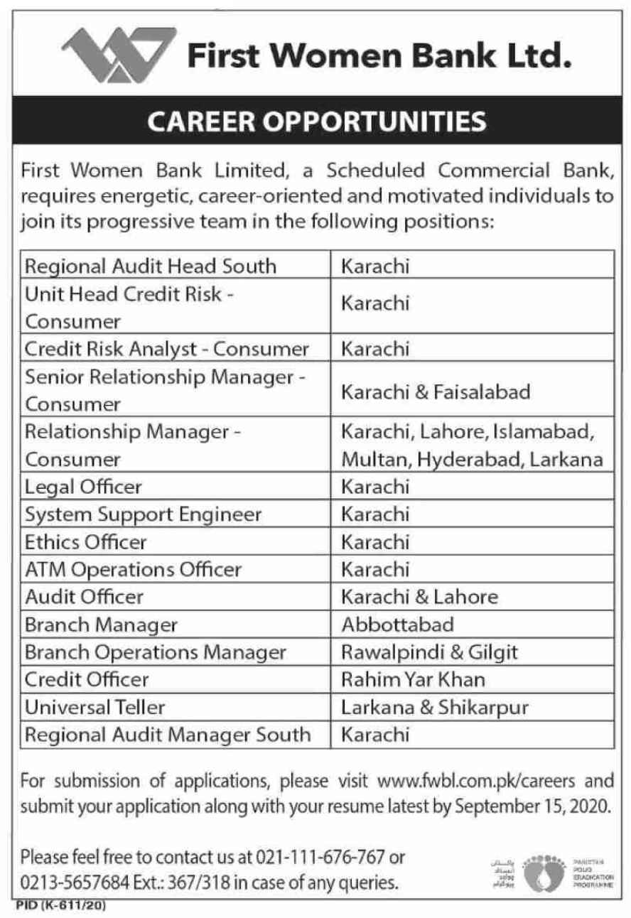 First Women Bank Limited FWBL Jobs 2020