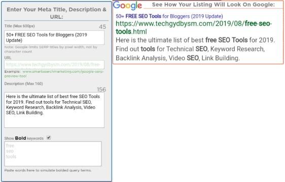 Google SERP Preview Tool