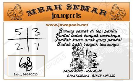 Mbah Semar SDY Sabtu 26 September 2020