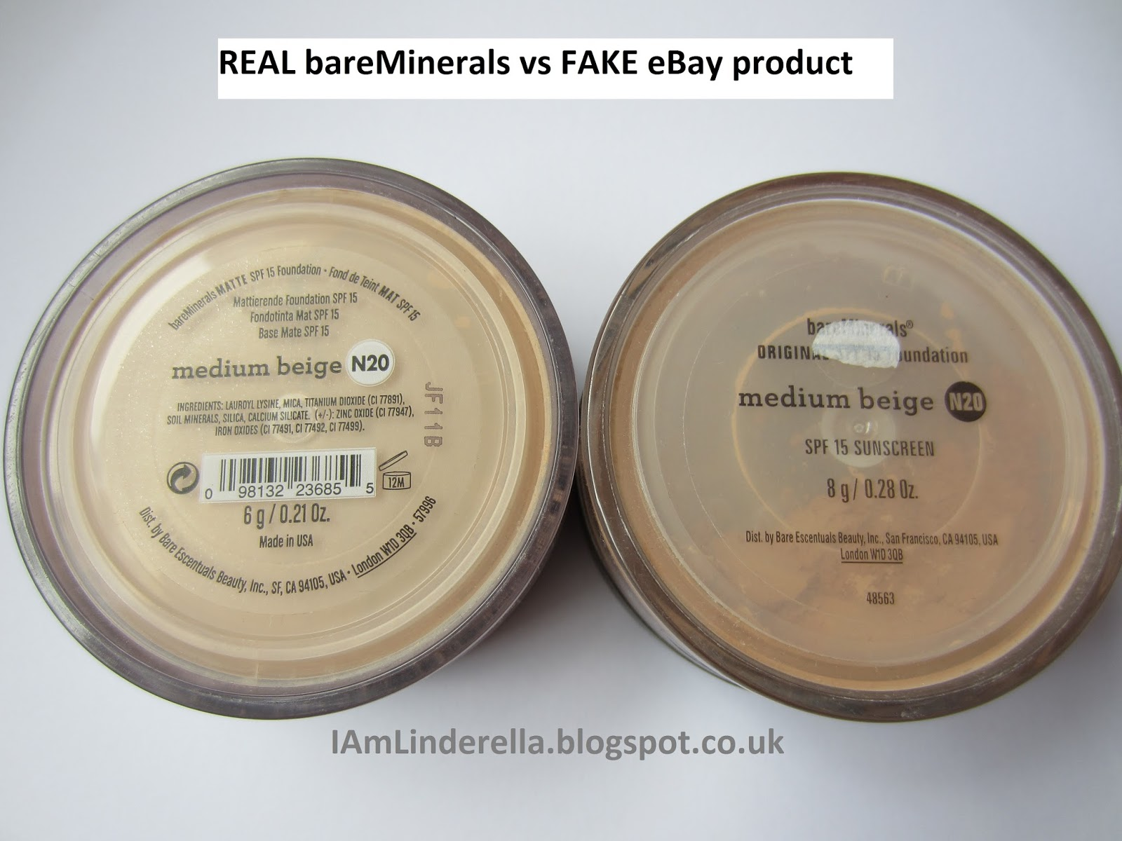linderella fake products on ebay my experience with bareminerals