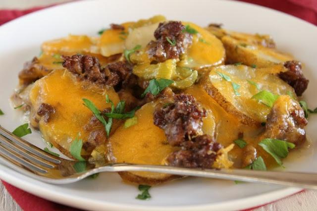 Hamburger Potato Casserole #dinner #casserole