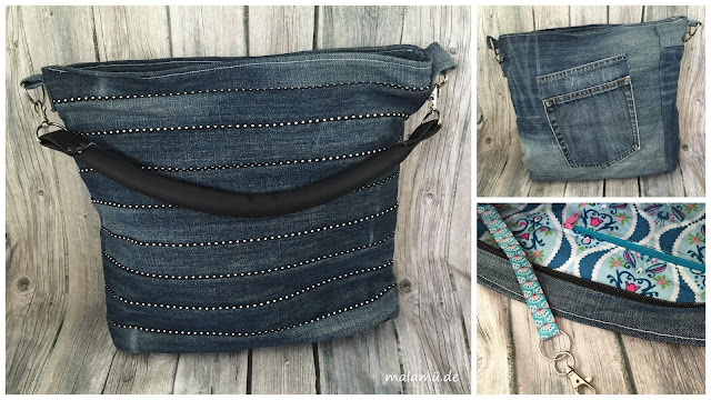 Chobe Bag - Jeansupcycling mit schwarzer Paspel