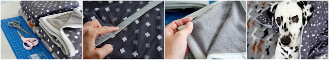 Homemade stylish grey and white double layered dog blanket with bound edges