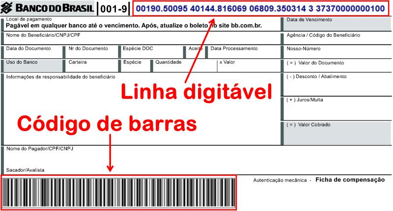 Boleto com Linha Digitável e Código de Barras