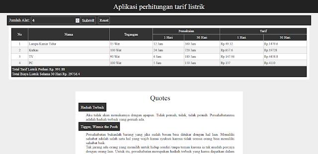 Aplikasi Perhitungan Tarif Listrik Berbasis Web