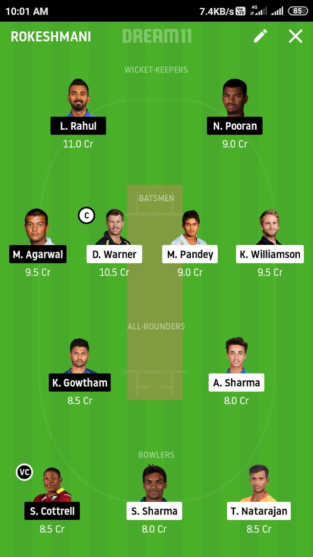 SRH VS KXIP, match 23 fantasy11 prediction and tips