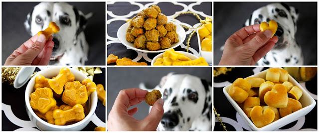 Dalmatian dogs with an assortment of golden turmeric dog treats