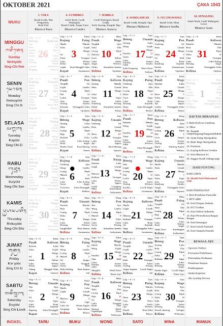 Kalender Bali Oktober 2021 Lengkap PDF dan JPG