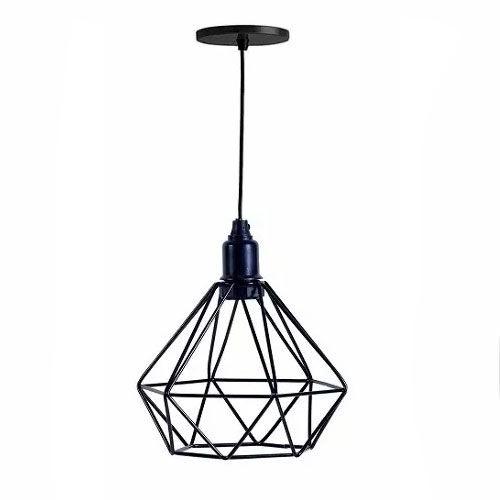 Pendente Lustre Luminária Industrial Diamante Aramado Preto