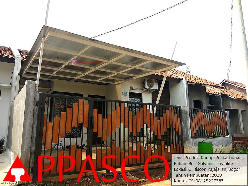 Kanopi Minimalis Polikarbonat Twinlite Besi Galvanis di Pajajaran