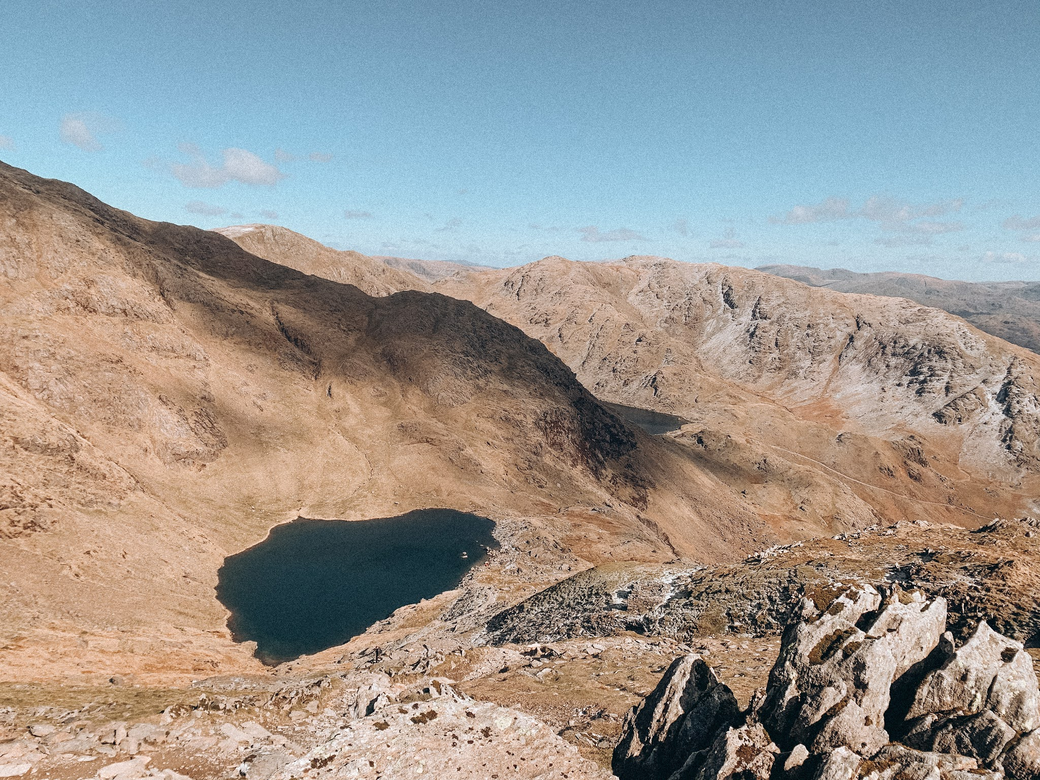 views of the low lake at the old man of coniston