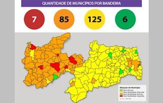 Novo Normal PB: 15ª avaliação aponta aumento no número de municípios em bandeira laranja; Guarabira e mais 124 seguem no 'amarelo'
