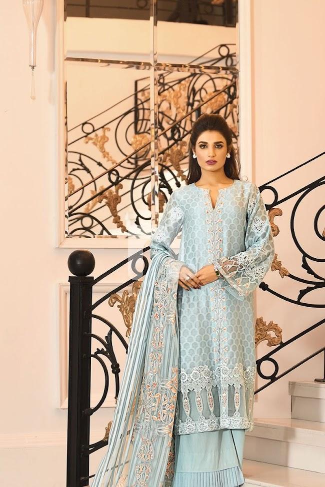 Nishatlinen Unstitched Luxury Blue Suit