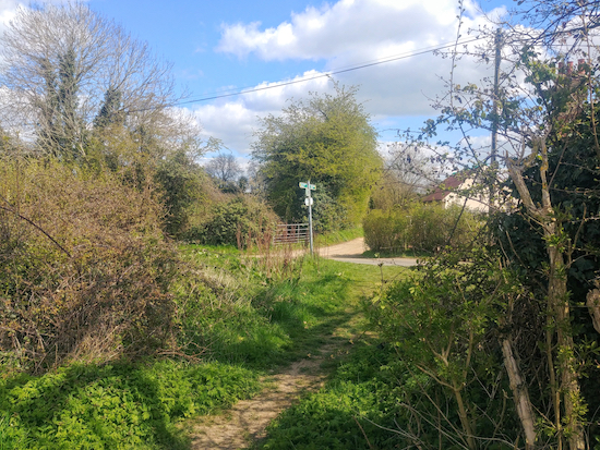 The junction at the start of Sandon footpath 33 (point 5)