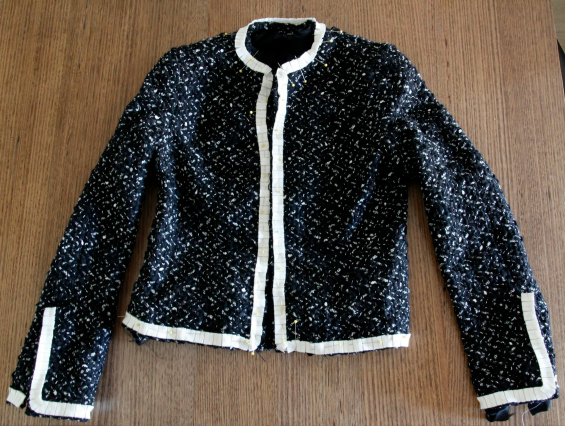 black and white boucle French jacket www.loweryourpresserfoot.blogspot.com
