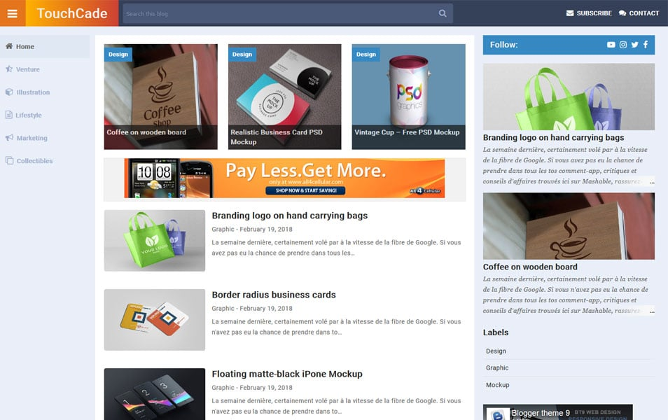 TouchCade Responsive Blogger Template