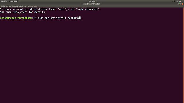 Terminal Ubuntu avec la commande pour installer TestDisk