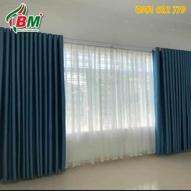 Rèm vải trơn xanh dương đậm phòng khách và phòng ngủ đẹp giá rẻ tại đồng xoài.
