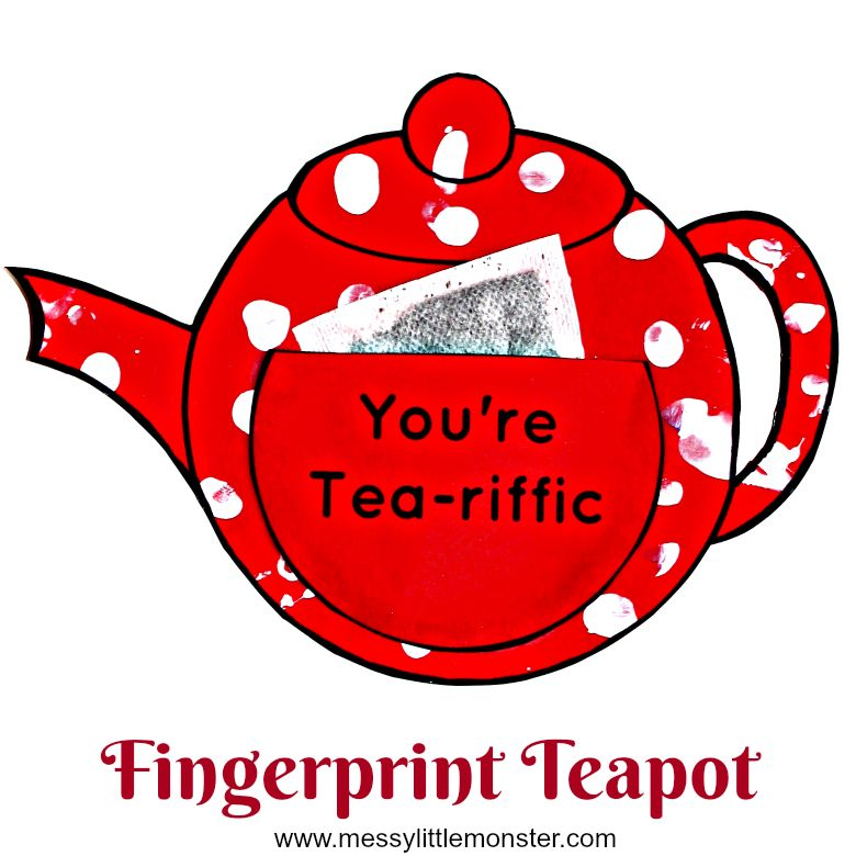 Printable Teapot You're Tea-riffic Mother's Day Card for kids to make