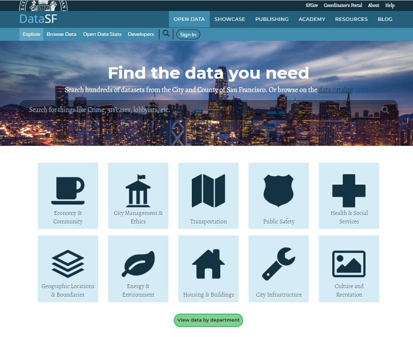 screen shot of San Francisco Open Data portal