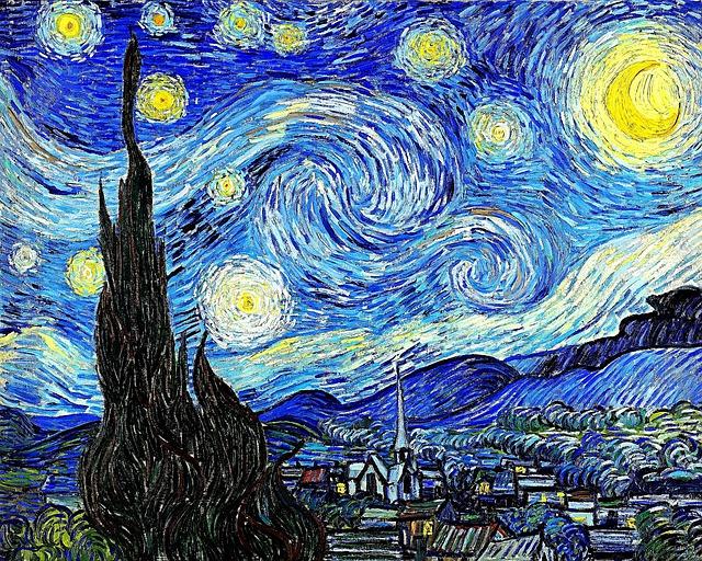 pintura de van gogh redesenhada de azul, amarelo e preto